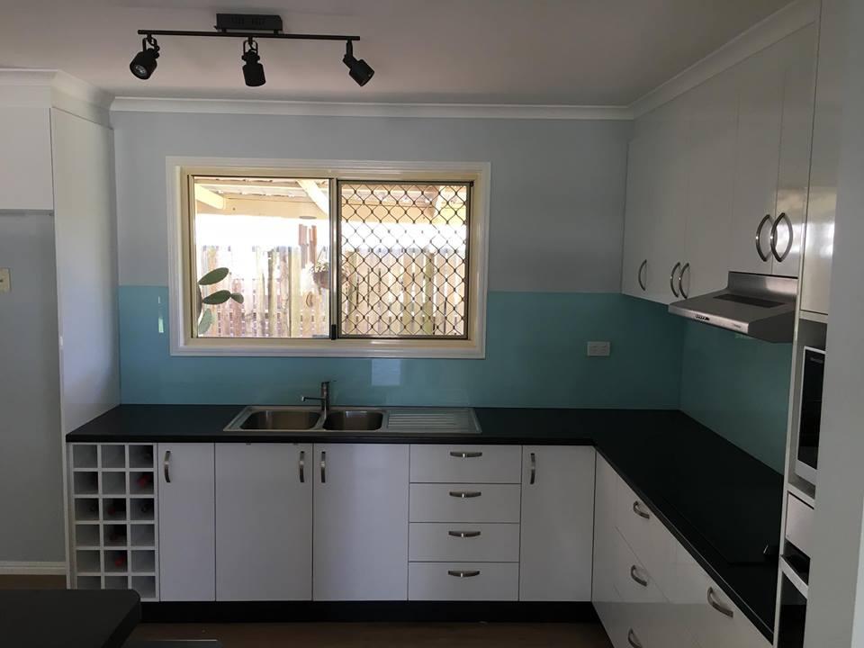 New kitchen design with wine rack